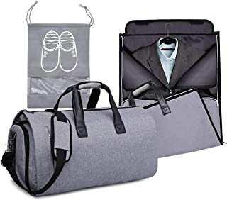 Garment Bags for Travel, Carry On Suit Bags with Shoulder Strap, Convertible Travel Roll Up Garment Duffel Bag for Men and Woman, 2 in 1 Hanging Suitcase Suit Travel Bags