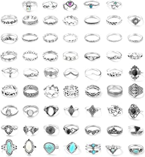 FUNRUN JEWELRY 61PCS Knuckle Ring Set for Women Opal Turquoise Joint Stackable Midi Finger Ring Bohemian Retro Vintage Jew...