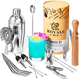 Bar Set Cocktail Shaker Set for Drink Mixing - 19 Piece Bar Tools Set, Mixology Bartender Kit with Straws and Martini Pick...