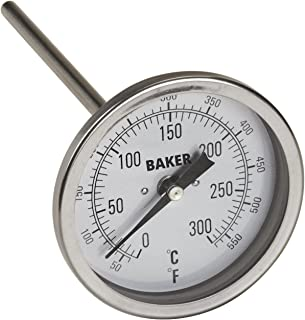 """Baker Instruments T300 Series Stainless Steel Bi Metal Thermometer 50 to 550°F (0 to 260°C), 6"""" Stem, 1/2"""" NPT Straight Connection, 3"""" Dial"""