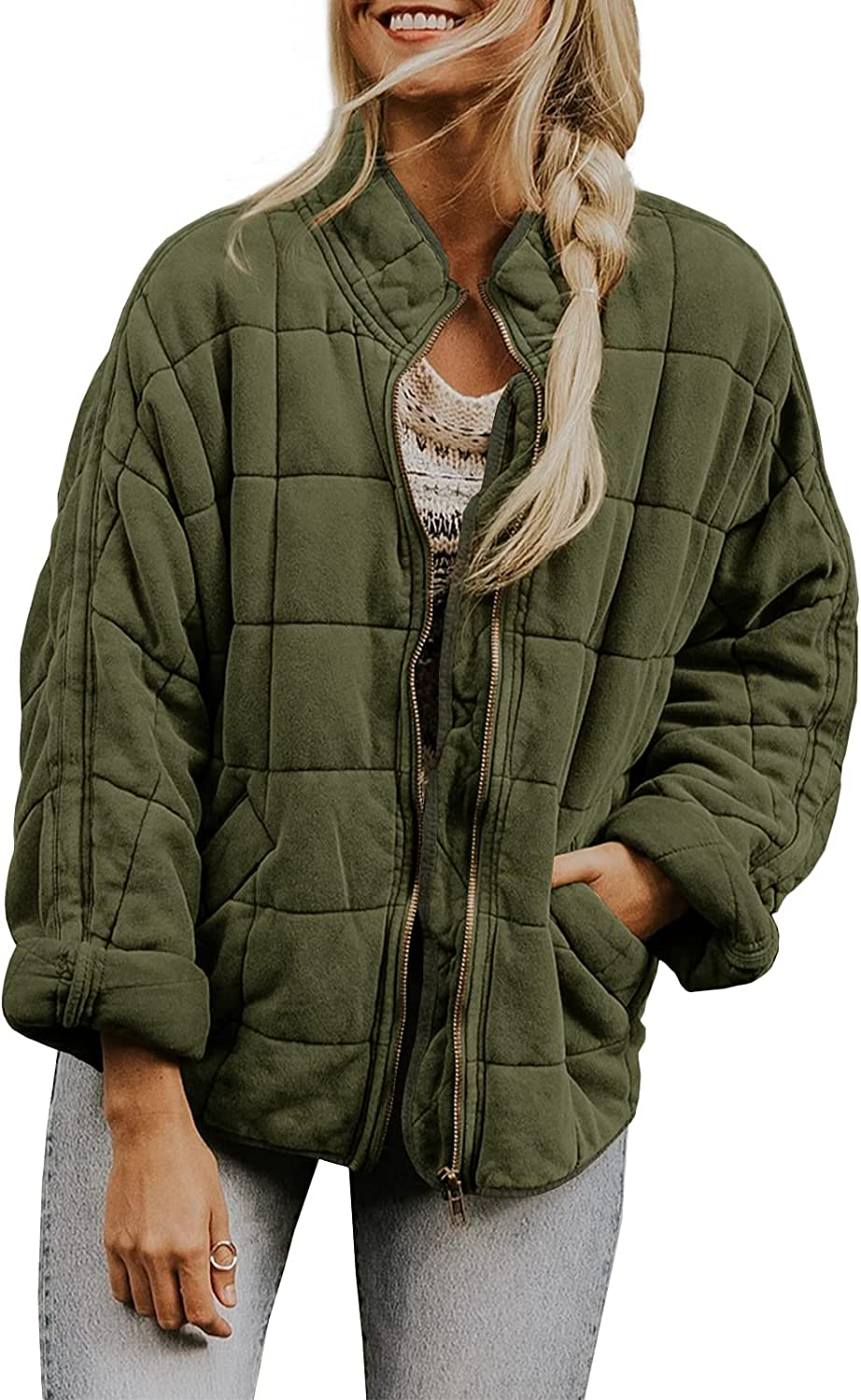 In stock Tucson Mall Womens Dolman Lightweight Quilted Jackets Long Up Sta Sleeve Zip