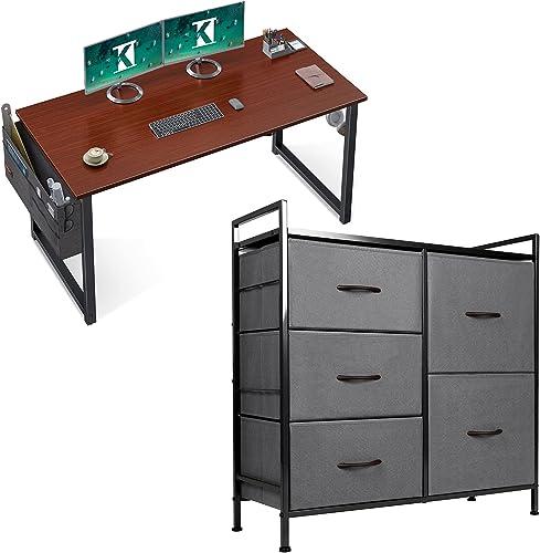 popular ODK Computer Writing Desk 39 outlet sale inch Teak & ODK 2021 Dresser with 5 Drawers Steel Frame and Wood Top, Dark Grey sale