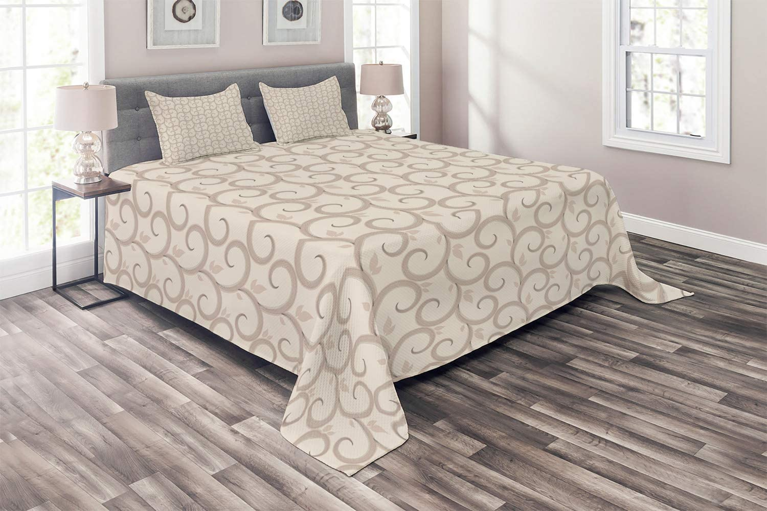 Ambesonne Beige Coverlet Overseas parallel import regular item Swirling Regular Courier shipping free Motifs Curved Leaves