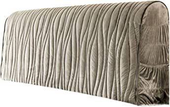 Home Bed Headboard Slipcover Stretch Solid Color Flannel with Gray