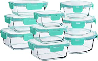 Bayco Glass Food Storage Containers with Lids, [18 Piece] Glass Meal Prep Containers, Airtight Glass Lunch Bento Boxes, BP...