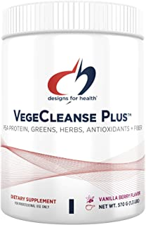 Designs for Health VegeCleanse Plus - Detox Powder with 17g Pea Protein - Cleanse with Vegetables, Antioxidants, Herbs, Vi...