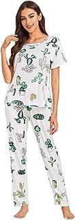 Floerns - Conjunto de pijama de manga larga con estampado de donut para mujer