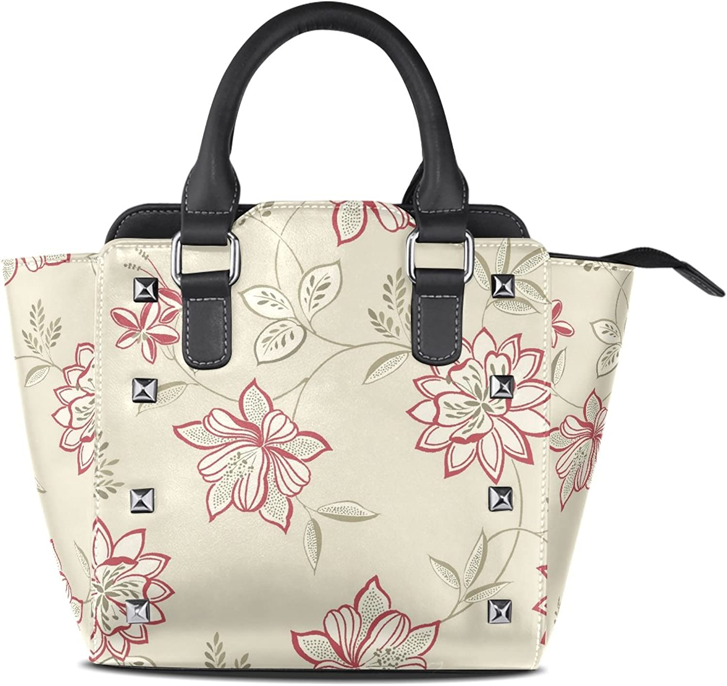 Sunlome Retro Flower Print Women's Leather Tote Shoulder Bags Handbags