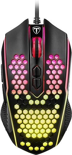 PICTEK Souris Gamer RGB Glorious, Souris Gaming Filaire avec 8 Boutons Programmables, 8000 DPI Réglable, Légère Souri...
