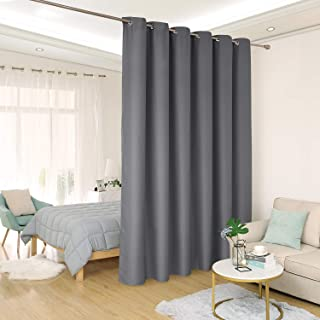 Deconovo Privacy Room Divider Curtain Thermal Insulated Blackout Curtains Extra Large Screen Partitions Room Darkening Panel for Patio Door, 10ft Wide x 9ft Tall 1 Panel Dark Grey