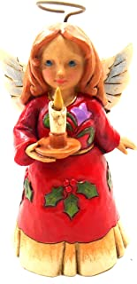 "Jim Shore Heartwood Creek Mini Angel with Candle Stone Resin Figurine, 3.5"""