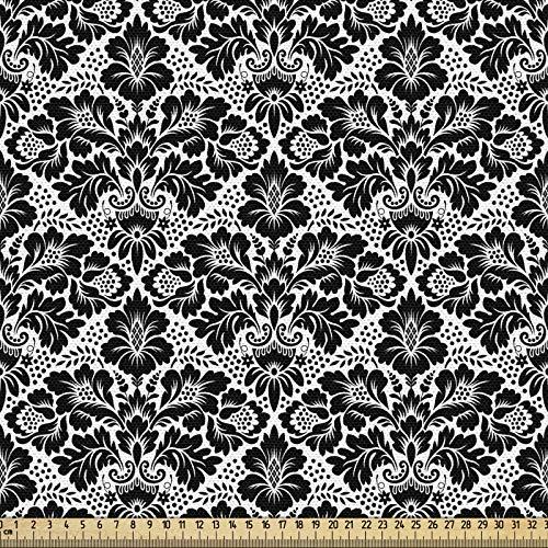 ABAKUHAUS Victoriano Tela por Metro, Remolinos Florales Antiguos, Decorativa para Tapicería y Textiles del Hogar, 1M (148x100cm), En Blanco Y Negro