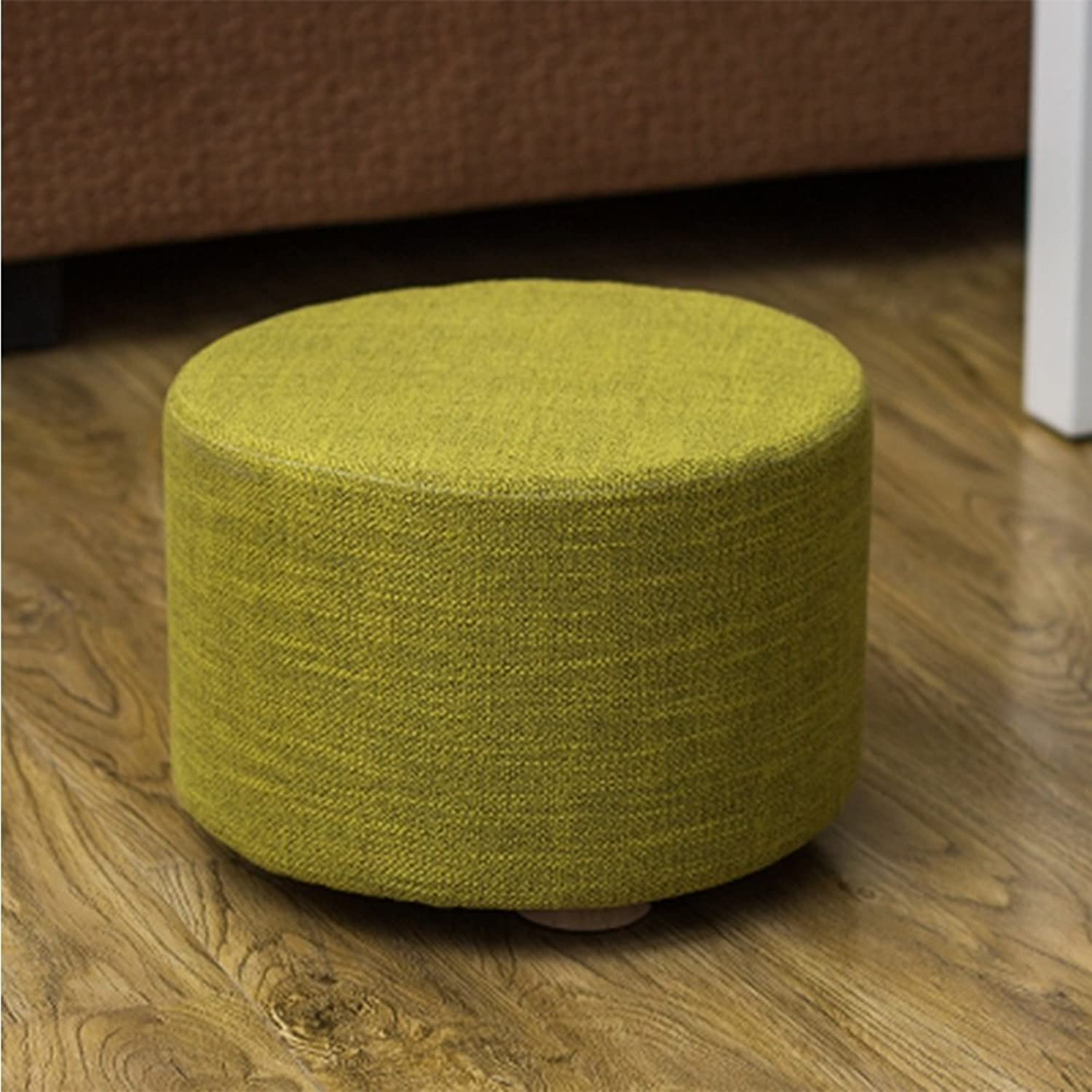 FORWIN US Stool- Stool Fabric Small shoes Bench Round Wooden Pouffe Stool Dwarf Pier Coffee Table Stool Sitting Pier Sofa Stool 28 X 28 X 20 cm Stool (color   E)
