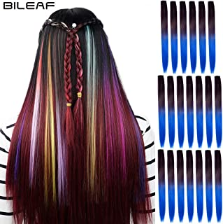 20pcs Colored Party Invisible in Hair Extensions Clip in Synthetic Hair with Multiple Colors(Black Dark Blue)