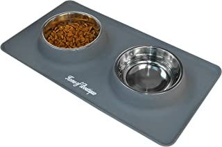 Dog Bowls, Cat Food and Water Bowl Stainless Steel, Pet Comfort Feeding Bowls with No-Spill Anti-Slip Silicone Mat for Medium or Small Dogs or Cats, Set of 2 Bowls
