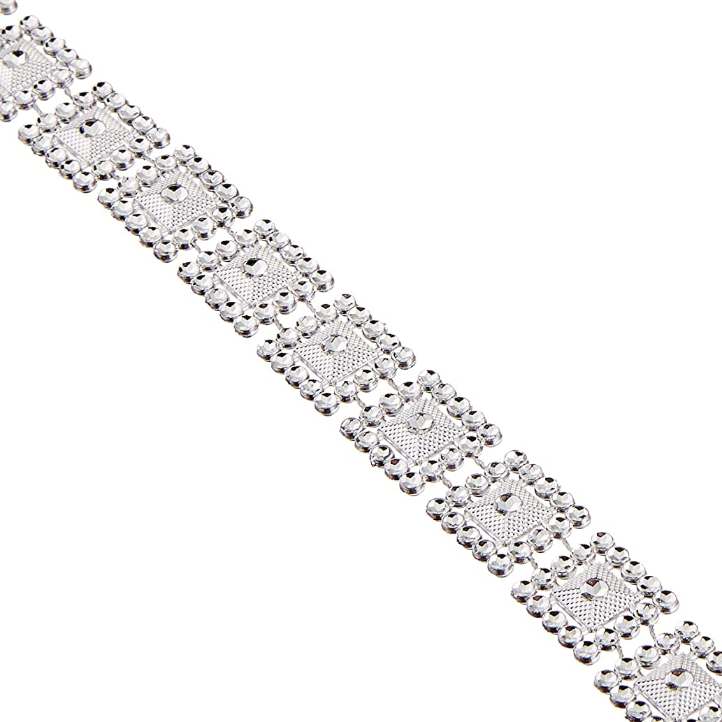 Firefly Imports Homeford Square Loose Assortment Rhinestone Trim Strand, 15mm by 10-Yard, Silver