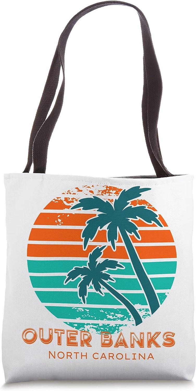 80s Retro Palm North Carolina Beach Souvenir OBX Outer Banks Tote Bag