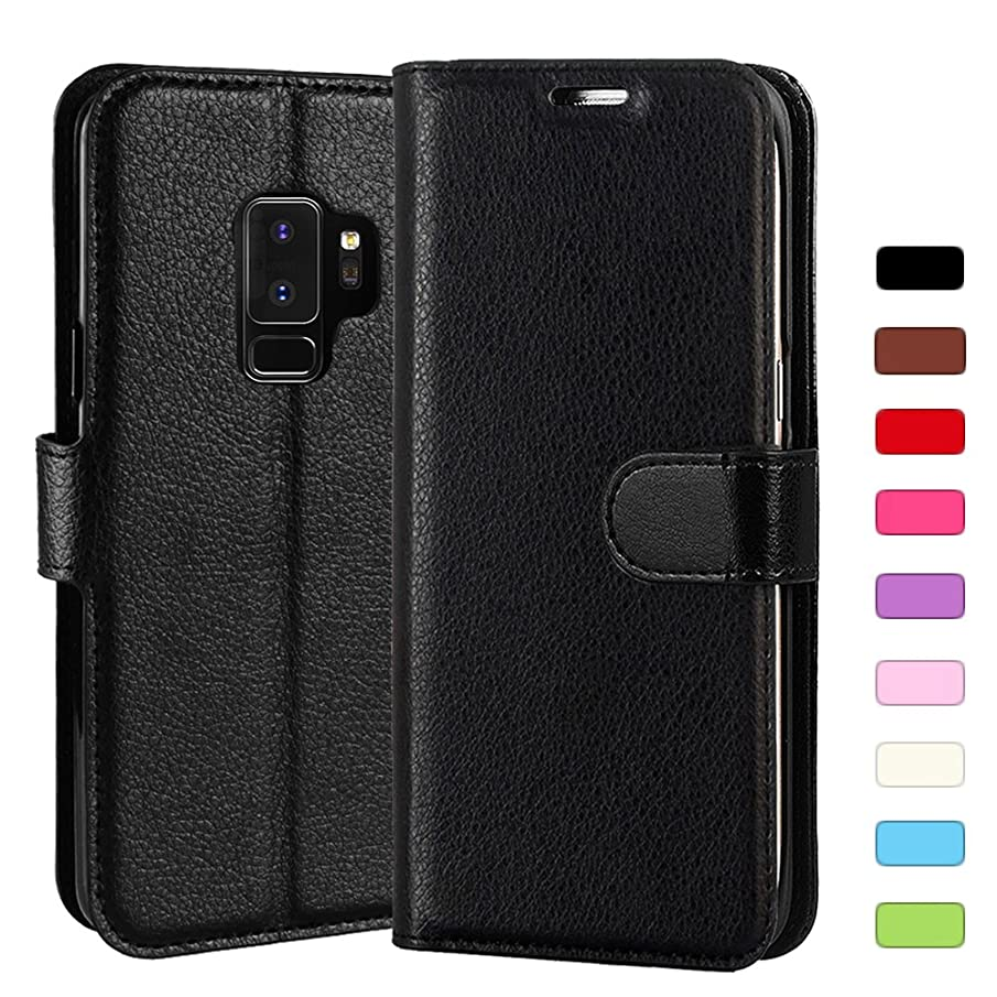 Galaxy S9 Plus Case, Celefree PU Leather Wallet Flip Open Pocket ID Credit Card Holders/Cash Slots Case Cover for Samsung Galaxy S9 Plus, Black