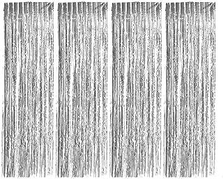 Neuseelor Folien Vorhänge, 4 Stück, metallische Fransenvorhänge, schimmernde Vorhang Hintergrund für Partys, Geburtstage, Hochzeiten, Dekorationen, 1 m x 21 m (Silber)