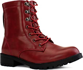 RF ROOM OF FASHION Women's Adjustable Wide Calf Wide Width Combat Boots (with Hidden Pocket)