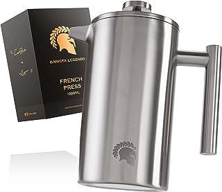 Barista Legends French Press kaffebryggare i rostfritt stål (1 liter) – dubbelväggig termopress för permanent färskt filte...
