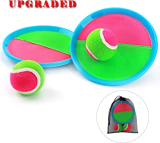 Ayeboovi Toss and Catch Ball Game Velcro Ball Catch Game Paddle Game Set with 2 Paddles, 2 Balls and 1 Storage Bag Perfect Outdoor Toy Gift for Kids (Upgraded Version)