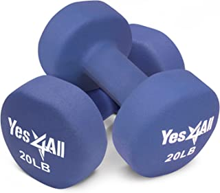 Yes4All Hexagon Neoprene Coated Dumbbell (Pair) - Multiple Weight Options