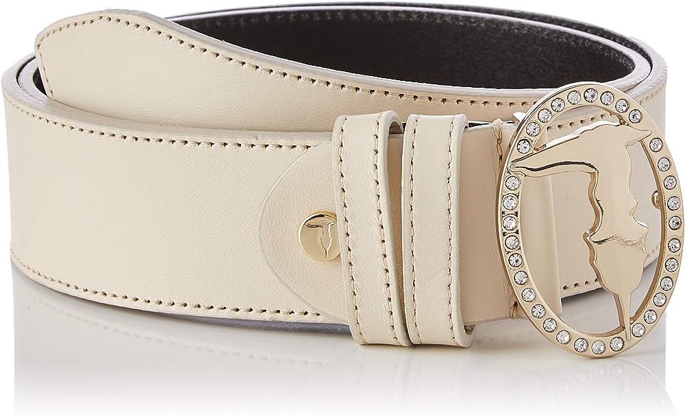 Trussardi jeans swarovski belt, cintura per donna,in pelle con fibia tempestata di cristalli swarovski 75L00141-9Y099999