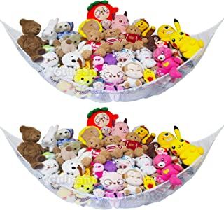 [2 Pack]Jumbo Toy Hammock for Stuffed Animals Durable Plush Toys Organizer Storage Net, Easy to Install, Large, Expands to...