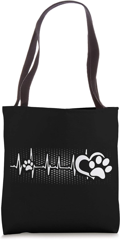 Puppy Dog Paw Print Heartbeat Dog Love Pet Paw Tote Bag