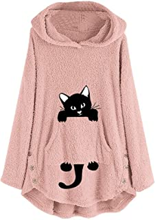 Womens Cat Embroidery Sweatshirt Plus Size Warm Hoodie Top Pullover Blouse E-Scenery