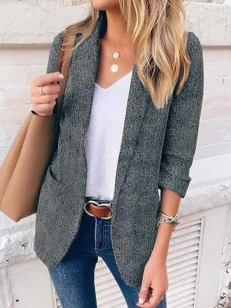 Minetom Damen Blazer 3/4 Ärmel Elegant Cardigan Top Elegant Bolero Jacke Slim Fit Büro Business Anzug Mantel mit Taschen Schwarz