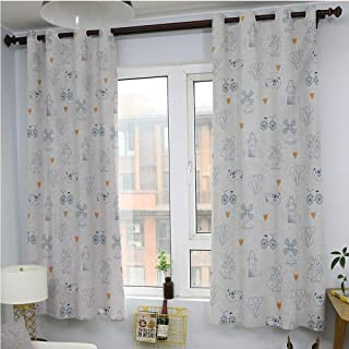 Flyererhome Dutch/Drapes/Panels for Kid's Room,Traditional Holland Culture Elements with Doodle Style Clogs Bicycles,All Season Thermal InsulatedOrange Navy Blue and White84 x 72