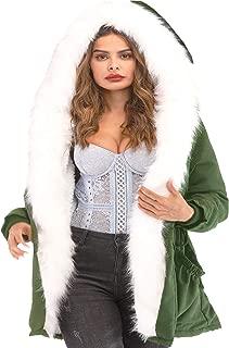Roiii 女式冬季加厚人造毛皮连帽加大码派克大衣夹克外套尺码 S-3XL
