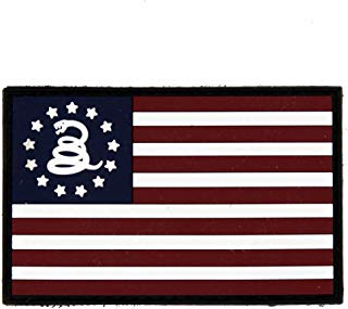 NEO Tactical Gear Betsy Ross US Flag Don't Tread On Me PVC Rubber Morale Patch – Crossfit Patch - Hook Backed with Loop Attachment Piece That Can Be Sewn On