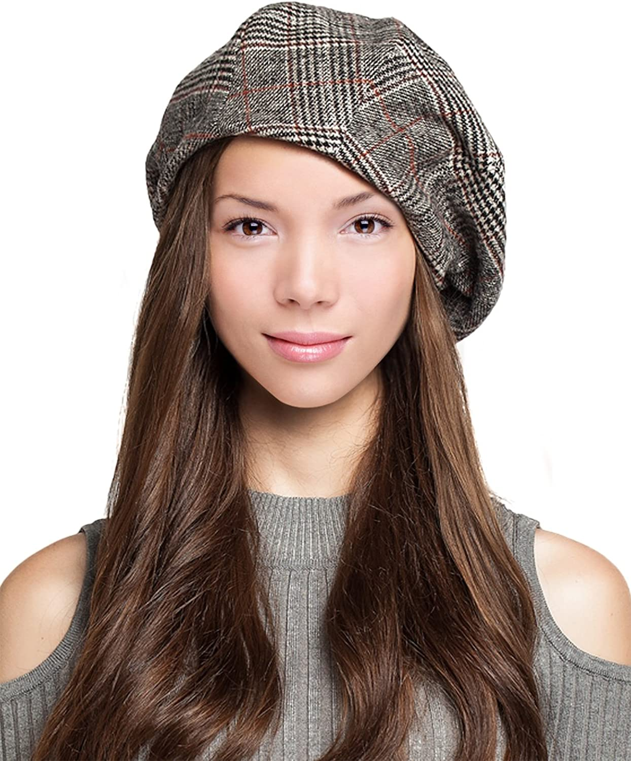 Dahlia Women's Velvet Lined Wool Blend Beret Bow Decorated Painter Plaid