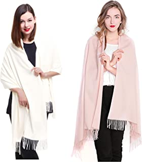 REEMONDE Large Extra Soft Cashmere Blend Women Pashmina Shawl Wrap Stole Scarf (2 Pack - Cream & Light pink)