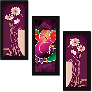 Paper Plane Design Set of 3 Wall Painting with Frames Ganesha Painting Wall Art Hanging Design-18