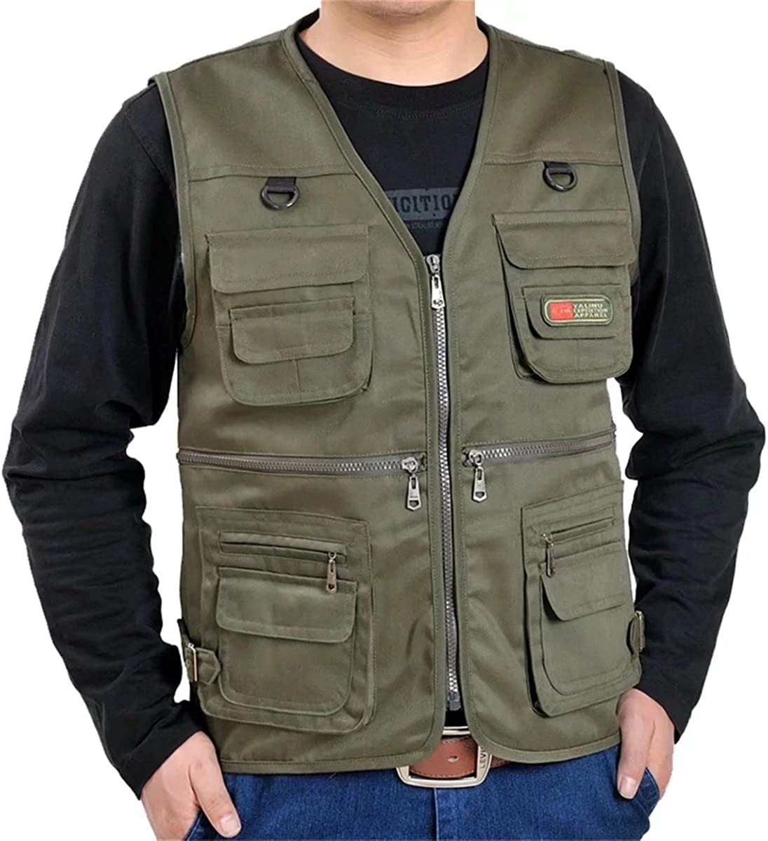 Mioubeila Men's Camouflage Cargo Vest With Zipper