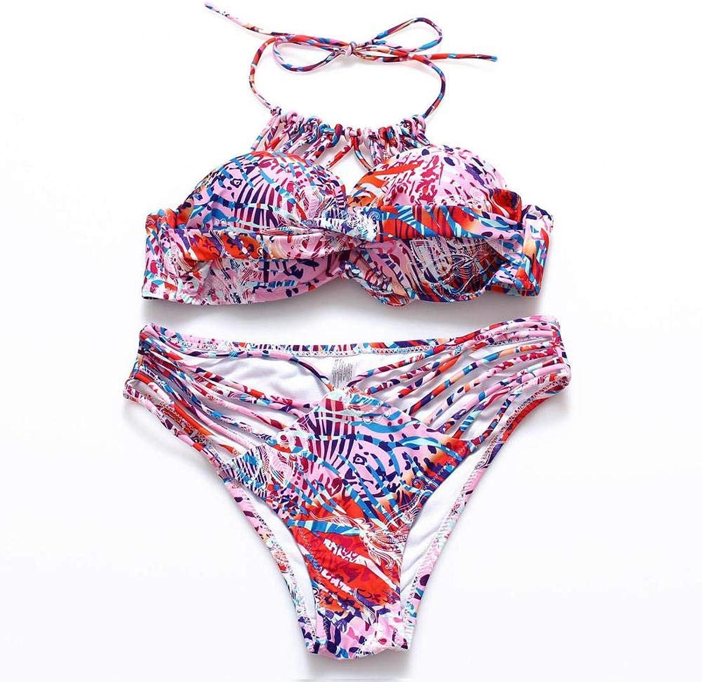 2018 New Ornaments Swimwear Women Beach Bikini Set Neck Ribbed Steel Strip Holder Bikini Spandex Multi-Rope Weave Swimsuit color 1 Size L