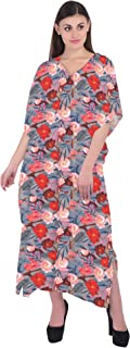 RADANYA Women Bathing Suits Cover Up Floral Print Kaftan Beach Maxi Dress