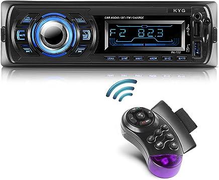 Autoradio Bluetooth Main Libre KYG Radio Voiture avec 2 Ports USB et MMC Card Slot, Supporte Max 32G de Mémoire Lecteur FM/MP3/ USB/SD/WMA/AUX/Télécommande, 7 Couleurs d'éclairage