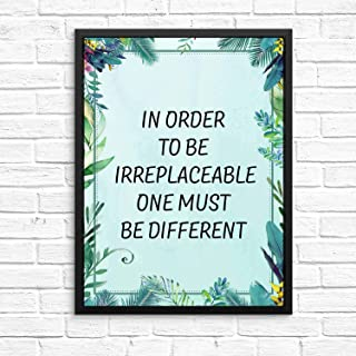 128 buyloii in Order to Be Irreplaceable One Must Be Different Motivational Words Artwork Quotes and Saying Art Prints Wall Art Green Leaf Paint 14x11in