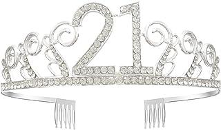 GreeStore - Diadema a coroncina per 21º compleanno, decorato con cristalli di strass, accessorio per feste e idea regalo p...