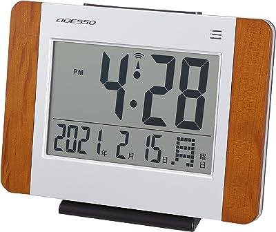 ADESSO(アデッソ) 置き時計 電波 デジタル ウッド電波時計 曜日 日付表示 置き掛け兼用 木目 シルバー GT-01