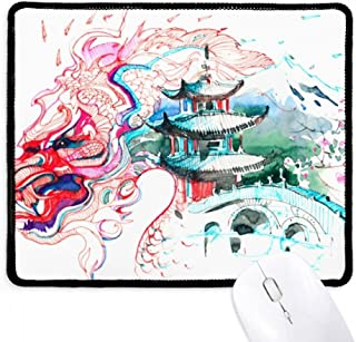 China Chinese Dragon Bridge Drawing Non-Slip Mousepad Game Office Black Stitched Edges Gift