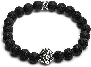 Jewelry Lion Head with Lava Stone Beaded Bracelet - 8mm, Black, Elastic