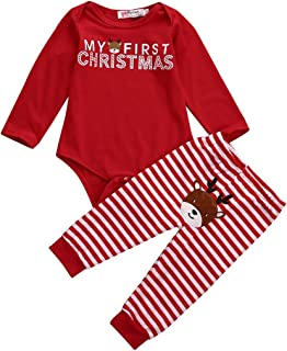 Christmas Newborn Baby Boy Girls Tops Romper+Long Pants Outfits Bodysuit Set Infant Playwear Jumpsuit