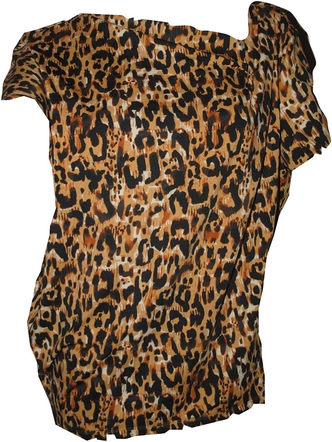 Ellen Tracy Women's Asymmetrical Leopard Print Blouse Extra Large