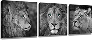 Wall Paintings Wall Art for Bedroom Lion Wall Art Canvas Black and White Wall Art Lion Poster Wall Art Animals Black Painting Canvas Animal 3 Pieces Modern Decorative Picture Print Lion Head Portrait